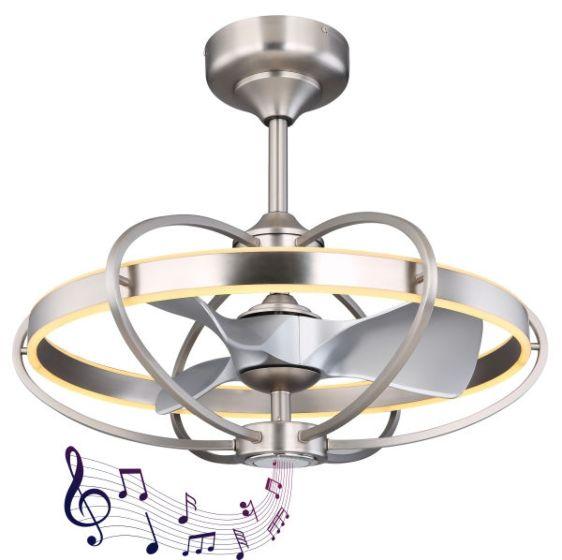 Ventilatore a soffitto con lampada a LED e altoparlanti Globo ALMENI 03617